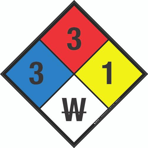 NFPA 704: 3-3-1 W - Wall Sign