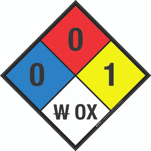 NFPA 704: 0-0-1 W OX - Wall Sign