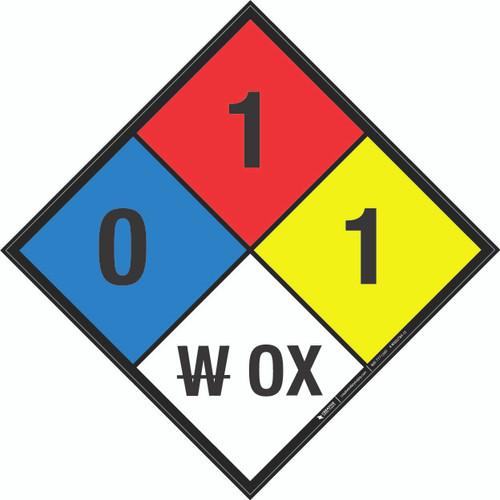 NFPA 704: 0-1-1 W OX - Wall Sign