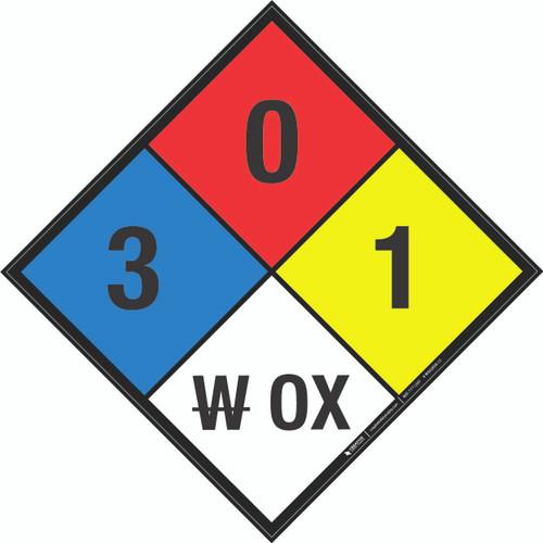 NFPA 704: 3-0-1 W OX - Wall Sign
