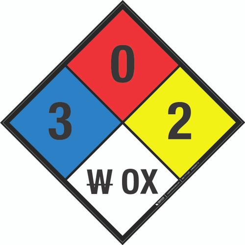 NFPA 704: 3-0-2 W OX - Wall Sign