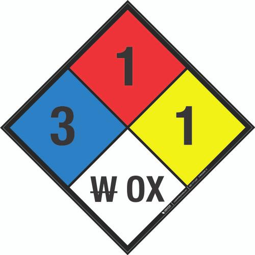 NFPA 704: 3-1-1 W OX - Wall Sign