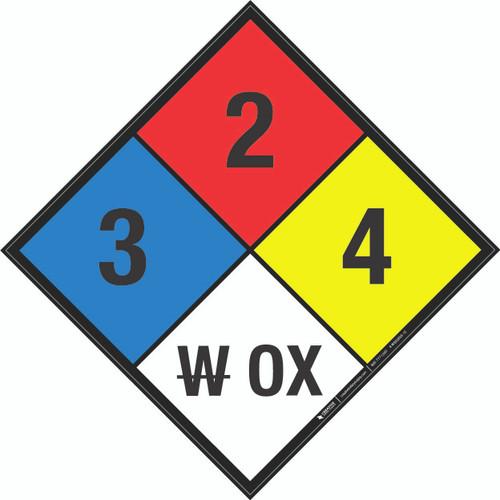 NFPA 704: 3-2-4 W OX - Wall Sign
