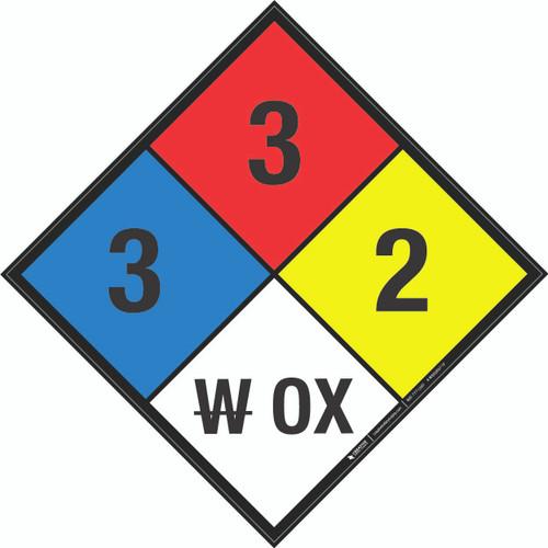 NFPA 704: 3-3-2 W OX - Wall Sign