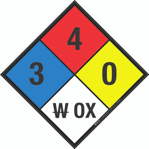NFPA 704: 3-4-0 W OX - Wall Sign