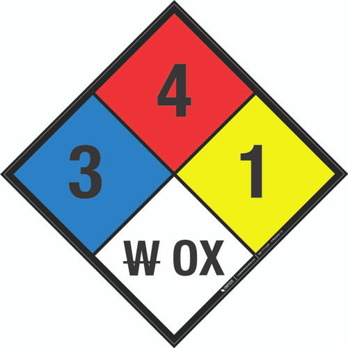 NFPA 704: 3-4-1 W OX - Wall Sign