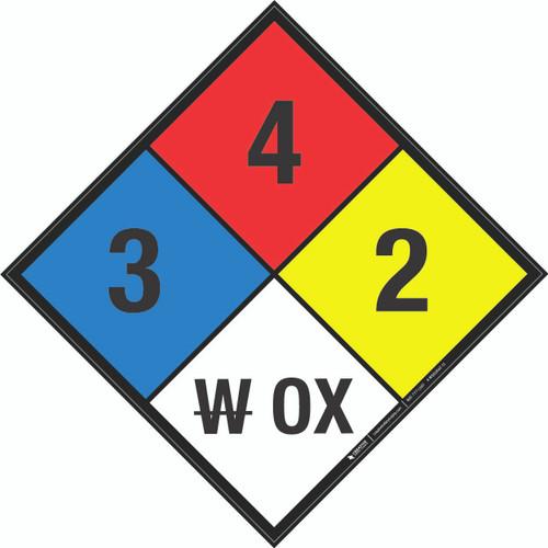 NFPA 704: 3-4-2 W OX - Wall Sign