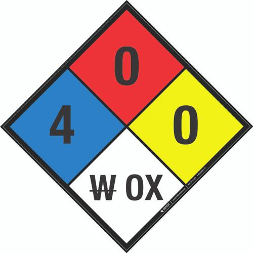 NFPA 704: 4-0-0 W OX - Wall Sign
