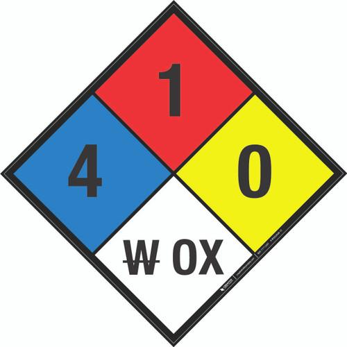 NFPA 704: 4-1-0 W OX - Wall Sign