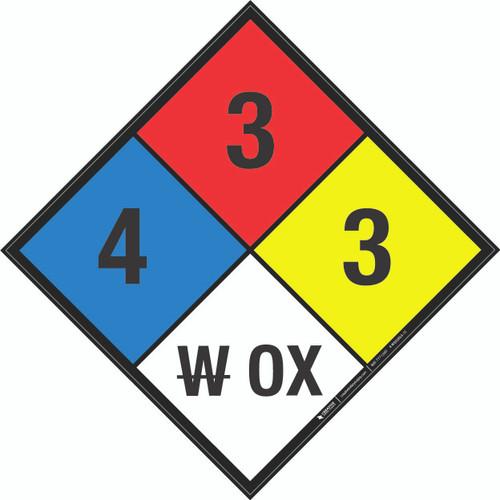 NFPA 704: 4-3-3 W OX - Wall Sign