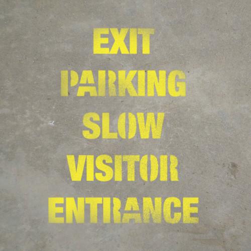 Exit, Parking, Slow, Visitor, Entrance - Stencil