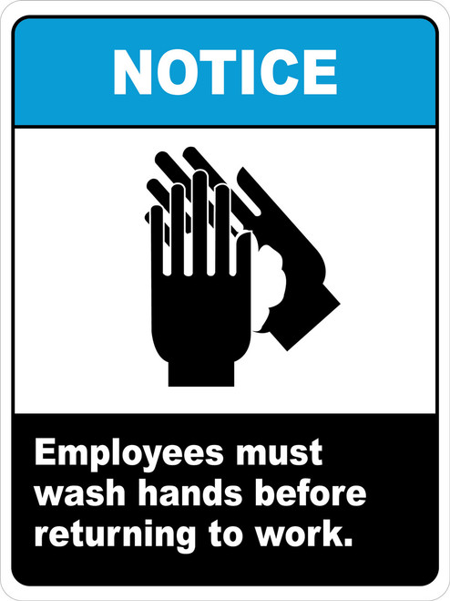 Notice Employees Must wash hands before returning to work sign
