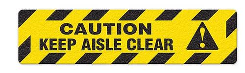 "Caution Keep Aisle Clear (6""x24"") Anti-Slip Floor Tape"