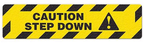 "Caution Step Down (6""x24"") Anti-Slip Floor Tape"