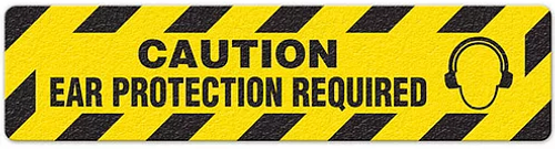 """Caution Ear Protection Required (6""""x24"""") Anti-Slip Floor Tape"""