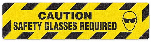"""Caution Safety Glasses Required (6""""x24"""") Anti-Slip Floor Tape"""