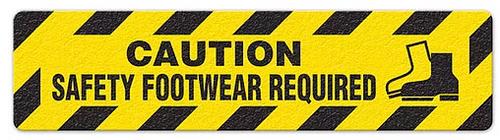"Caution Safety Footware Required (6""x24"") Anti-Slip Floor Tape"