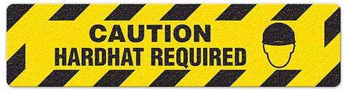 "Caution Hardhat Required (6""x24"") Anti-Slip Floor Tape"