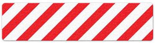 """Hazard Stripe (6"""" x 24"""") Red/White Anti-Slip Floor Tape"""