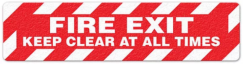 "Fire Exit Keep Clear At All Times (6""x24"") Anti-Slip Floor Tape"