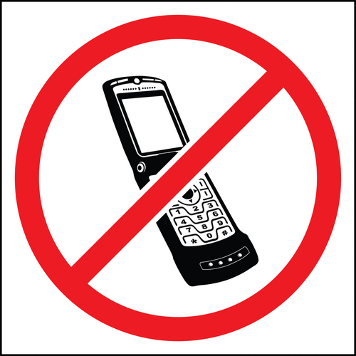 No cell phone area sign and label