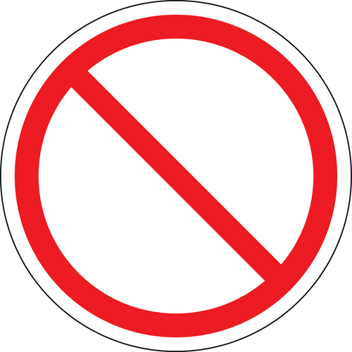 Empty circle with line, Don't Sign