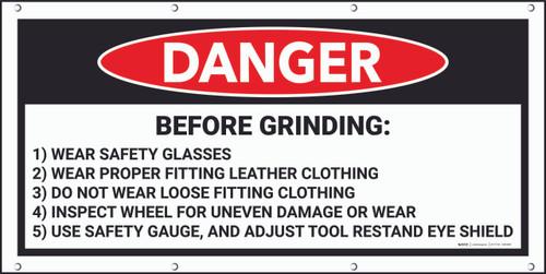 Danger Before Grinding Framed Banner