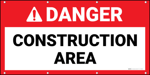 Danger Construction Area Red Banner