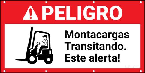 Danger Forklift Traffic Spanish ANSI Banner