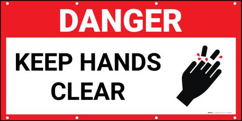 Danger Keep Hands Clear Red Banner
