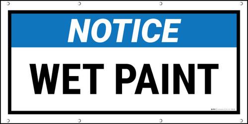 Notice Wet Paint Black FrameBanner
