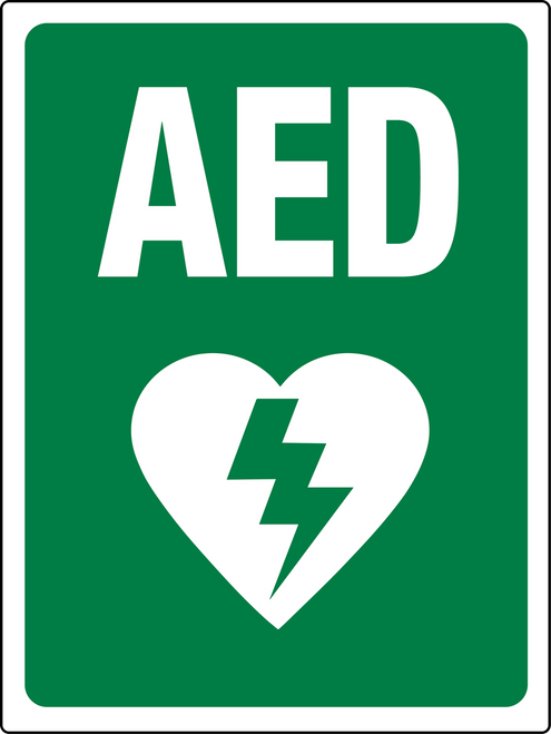AED Sign Green and White