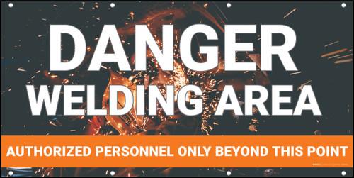 Danger Welding Area Authorized Personnel Orange Banner
