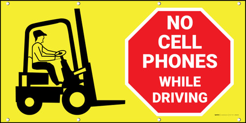 No Cell Phones While Driving Forklift Banner