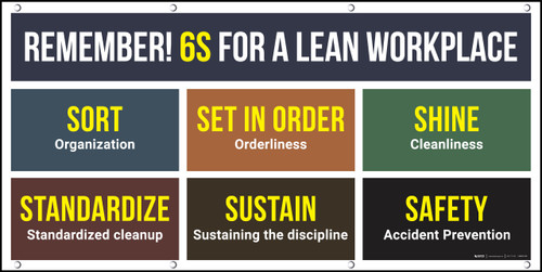 Remember 6S For A Lean Workplace Banner