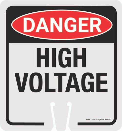 Danger High Voltage Symbol Clip-On Cone Sign