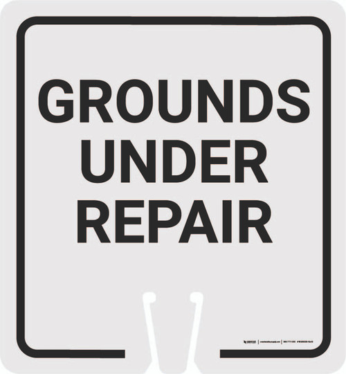 Grounds Under Repair Vertical Clip-On Cone Sign