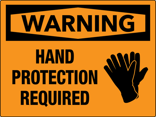 Warning Hand Protection Required Wall Sign
