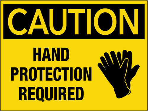 Caution Hand Protection Required Wall Sign