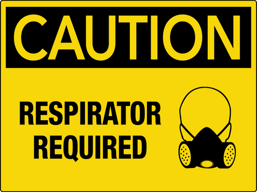 Caution Respirator Required Wall Sign