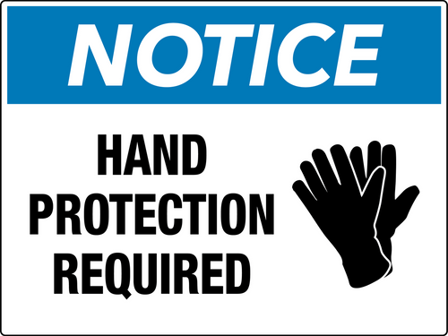 Notice Hand Protection Required Wall Sign