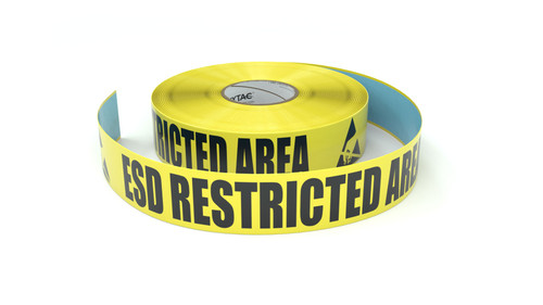 ESD Restricted Area with Two Hand Symbols - Inline Printed Floor Marking Tape