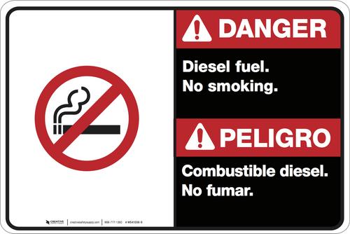 Bilingual Danger Diesel Fuel No Smoking Wall Sign