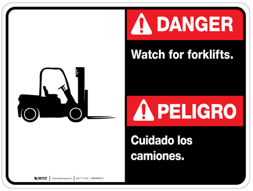 Bilingual Danger Watch for Forklifts Wall Sign