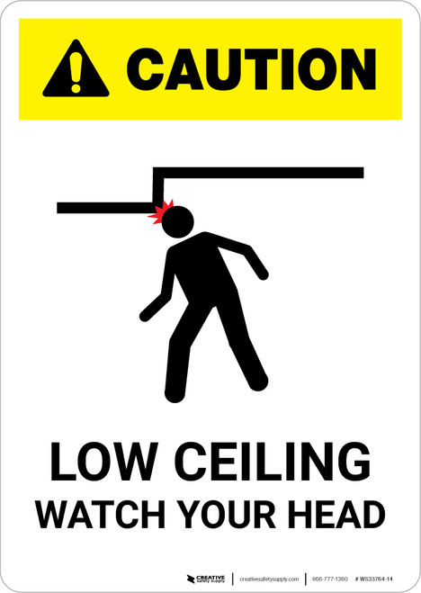 Caution: Low Ceiling Watch Your Head White - Portrait Wall Sign