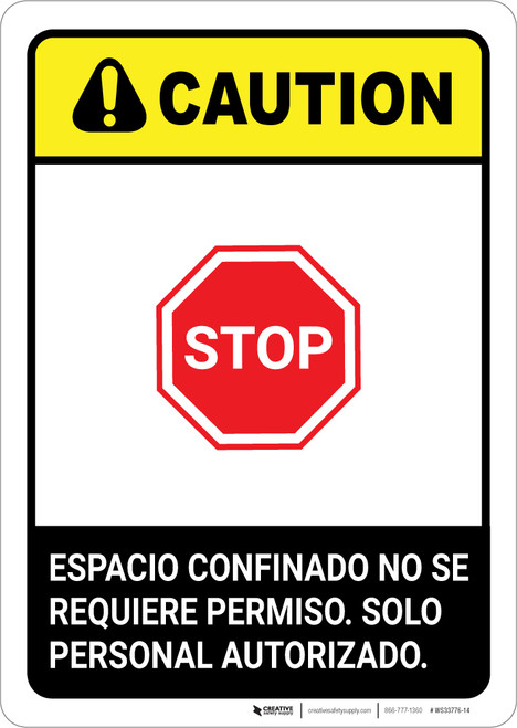 Caution: Non Permit Confined Space Spanish ANSI - Portrait Wall Sign