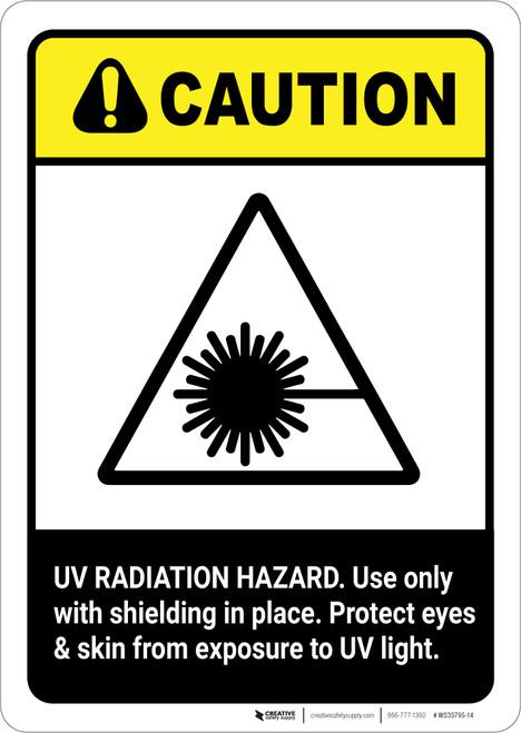 Caution: UV Radiation Hazard Protect Eyes and Skin ANSI - Portrait Wall Sign