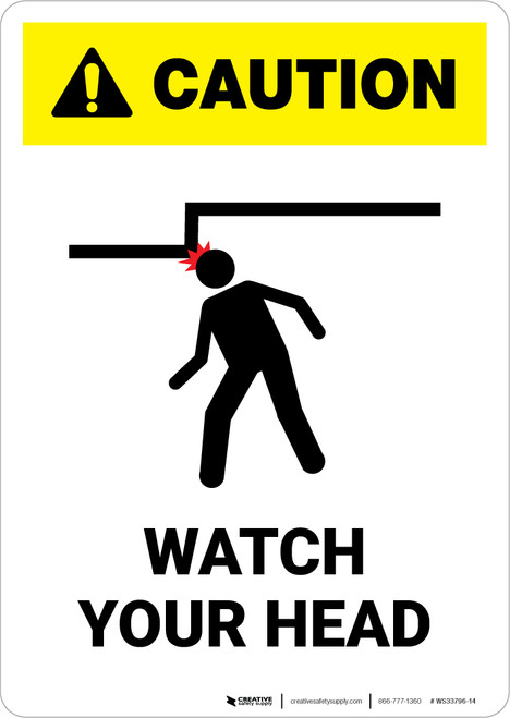 Caution: Watch Your Head - White - Portrait Wall Sign
