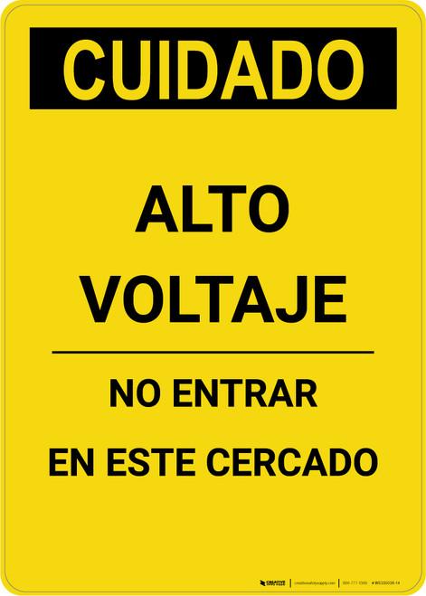 Caution: High Voltage Do Not Enter Enclosure Spanish - Portrait Wall Sign