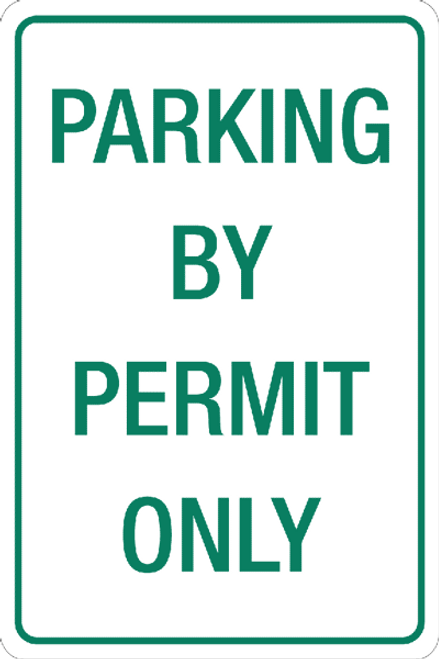 Parking by Permit aluminum sign